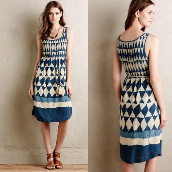 Anthropologie Dresses & Skirts - Anthro Maeve Castalia Indigo Tie Dye Tassel Dress